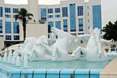 Algeria, Algiers, fountain and Music Institute