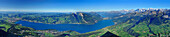 View from mount Niesen over Lake Thun to mountain scenery, UNESCO World Heritage Site Jungfrau-Aletsch protected area, Bernese Oberland, canton of Bern, Switzerland