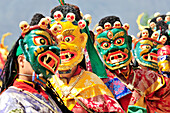 Mask dance at monastery festival, Phyang, Leh, valley of Indus, Ladakh, Jammu and Kashmir, India