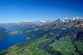 Vie from Niesen over Lake Thun to Wetterhorn, Schreckhorn, Eiger, Moench and Jungfrau, UNESCO World Heritage Site Jungfrau-Aletsch protected area, Bernese Oberland, canton of Bern, Switzerland