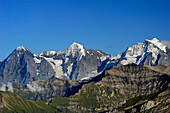 View from mount Niesen to Eiger, Moench and Jungfrau, UNESCO World Heritage Site Jungfrau-Aletsch protected area, canton of Bern, Switzerland