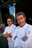 Giorgio Nava, right, executive chef and partner Carl Penn, left, Restaurant Carne &amp,amp,amp,amp,amp, 95 Keeroom SA, Cape Town, Western Cape, South Africa