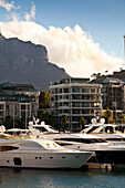 View over yachts and luxury homes the habour of V and A Waterfront, Cape Town, Western Cape, South Africa, RSA, Africa