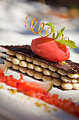 Mille Feuille of white and dark chocolate with marinated strawberries and strawberry sorbet, Restaurant Bosmans at Grande Roche Hotel, Paarl, Cape Town, Western Cape, South Africa, RSA, Africa