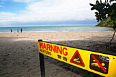 Crocodile-Warning sign on Cape Tribulation beach, Pacific Ocean, North Queensland, Australia