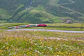 Glacier Express between Andermatt and the Naetschen station on its way up to Oberalppass, Urseren valley, Uri, Switzerland