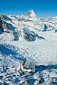A hut in the mountains, the New Monte Rosa Hut, Matterhorn in the background, Zermatt, Valais, Switzerland