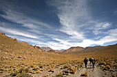 Four tourists walking in desert, Andes, Copa Coya, Chile