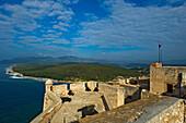 El Moro Castle walls with seaview in background, El Morro Castle, Santiago de Cuba, Cuba