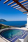 Coastal view and pergola over swimming pool, part of the Adonis & Aphrodite-Suite, Anassa-Hotel, Thanos Hotels,  Cyprus
