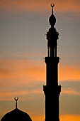 Silhouette of mosque at dawn, Aswan, Egypt