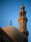 Dome and minaret of mosque of Barquq, Cairo, Egypt