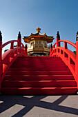 Low angle view of Chi lin nunnery pagoda, Hong Kong, Hong Kong