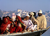 Ferry with local people on River Ganges at Varanasi, Uttar Pradesh, India