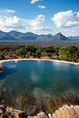 Empty infinity pool and grasslands, Namunyak, Matthews Mountains, Kenya