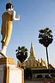 That Luang, or Grand Stupa, A symbol of the Laos nation, built in 1566, Vientiane, Laos.