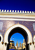 View through arch at Bab Boujeloud, Fes, Morocco