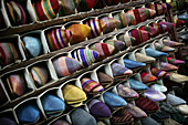 Colourful shoes for sale in the souk, Shopping in the medina, Marrakesh, Morocco.