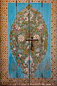 Decorative door. Andalusian Gardens. Kasbah des Oudaias, Rabat, Morocco
