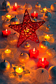 Christmas, ball, tree, decorations, decoration, adornment, candles, ball, sphere, light, lights, close_up, jewellery, snow, star, Christmas decoration, Christmas, Christmas ball, Christmas decoration, Christmas mood, winter, warmth, decorative, red, atmos
