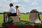 Horse and carriage with bell, Christening of a bell, Antdorf, Bavaria, Germany