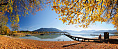 Panorama with boardwalk at lake Tegernsee in autumn, Wallberg, Setzberg and Fockenstein in background, lake Tegernsee, Upper Bavaria, Bavaria, Germany, Europe