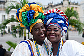 Two friendly Brazilian women in traditional costume, Salvador, Bahia, Brazil, South America