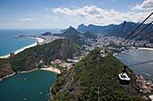 View over city from Pao de Acucar, Sugar Loaf, mountain with Sky Gondola cable car, Rio de Janeiro, Rio de Janeiro, Brazil, South America