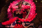 Woman wears colorful costume at folklore and samba dance show at Variete Plataforma 1, Rio de Janeiro, Rio de Janeiro, Brazil, South America