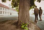 People in front of the old grammar school, Neuruppin, Ostprignitz-Ruppin, Brandenburg, Germany, Europe
