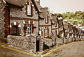 Row houses made of stone, Devon, Southern England, Great Britain, Europe