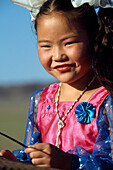 Young girl from a school dance troupe , Mongolia