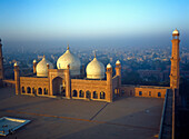 Aerial view of Badshahi Mosque at dusk, Lahore, Pakistan.