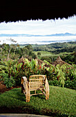 View of empty chair overlooking Southern Highlands, Southern Highlands, Papua New Guinea