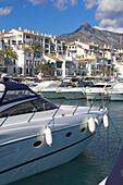 Yachts in harbor in Marbella, Puerto Banus, Costa del Sol, Andalucia, Spain