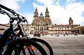 Cyclists finishing their Pilgrimage in Santiago de Compostela, Santiago de Compostela, Spain