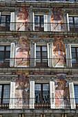 Painted facades of Plaza Mayor, Madrid, Spain