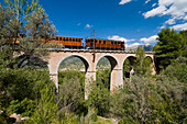 Train going over viaduct above olive grove, Majorca, Balearic Islands, Spain