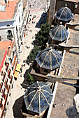 Old town rooftops seen from Miguelete Bell Tower of Valencia Cathedral, Valencia, Spain