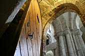 View from stairs down to crypt of Winchester Cathedral, Winchester, Hampshire, England