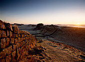 Hadrian's Wall at Cuddy's Crags near Housesteads, Northumberland, England, UK