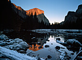 Thick frost beside the Merced River looking towards El Capitan at dusk, Yosemite National Park, California