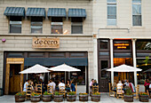 People at outdoors tables at Cantina de Cero restaurant on Randolph Street, Chicago, Illinois, USA