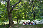Young people relaxing in Central Park, Manhattan, New York City, USA