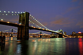 The Broklyn Bridge (foreground) and the Manhattan Bridge, viewed from South Street Seaport, New York City, New York, United States
