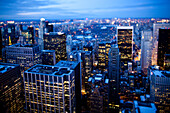 Tilt shift evening image of Manhattan from the top of the Rockefeller centre, Rockefeller centre, New York. USA.