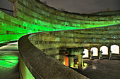 Curved atrium of the National Gallery at night, Stuttgart, Baden-Wuerttemberg, Germany