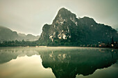 Caves of the Pathet Lao, fog, clouds and lake, history communism, Vieng Xai around Sam Neua, Highland, Laos