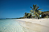 white sandy beach with clear water, stunning southern pacific beach, Savaii, Samoa