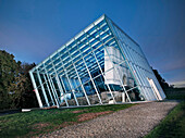 Protective glass architecture covering Limestor Dalkingen, Limes fort, Aalen, Baden-Wuerttemberg, Germany